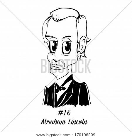 Cartoon Caricature Character Historical Portrait US Presidents Comic Emoticon - Abraham Lincoln