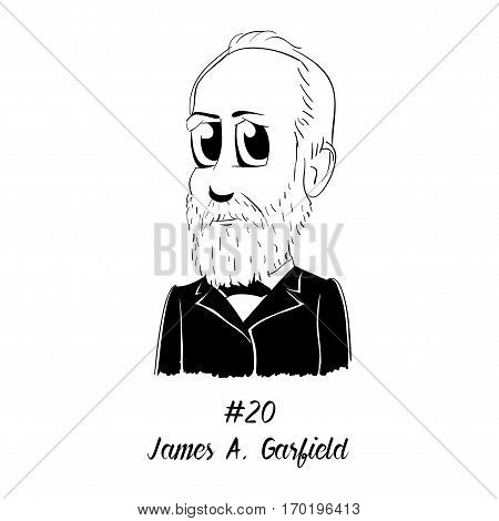 Cartoon Caricature Character Historical Portrait US Presidents Comic Emoticon - James A. Garfield