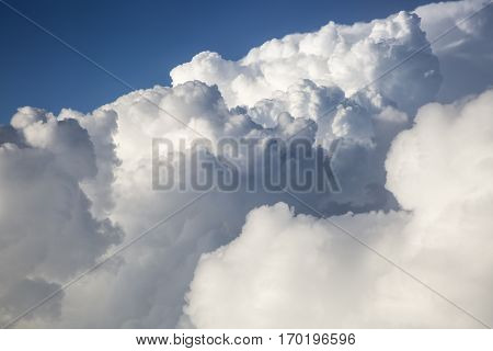 close up on white fluffy storm clouds