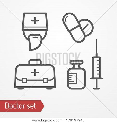 Collection of doctor icons. Typical doctor face in professional hat, bag, syringe, pills and medicine. Medic or surgeon isolated icon in flat style. Profession and healthcare vector stock image.