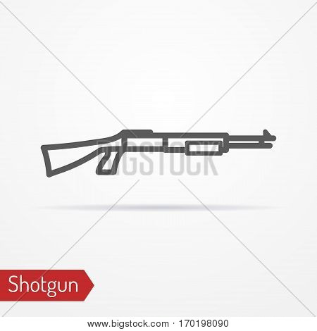Abstract isolated shotgun icon in line style with shadow. Typical police special forces or hunter weapon. Military vector stock image.