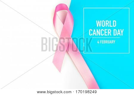 World cancer day : Breast Cancer Awareness Ribbon on white Background