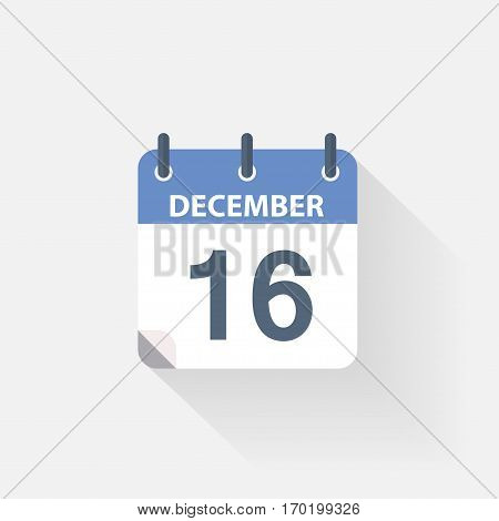 16 december calendar icon on grey background