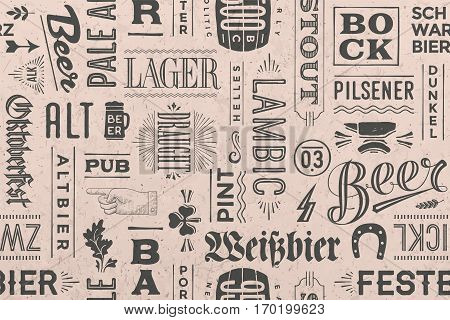 Seamless pattern with types of beer and hand drawn lettering for bar, pub, cafe, fest and party. Vintage drawing for placemat, bar menu, t-shirt print and beer themes. Vector Illustration