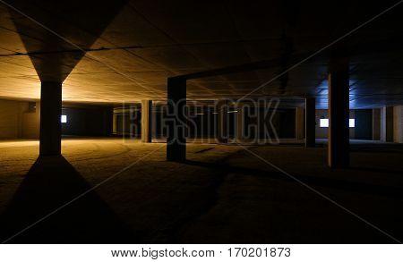 Built Empty Space Underground Parking