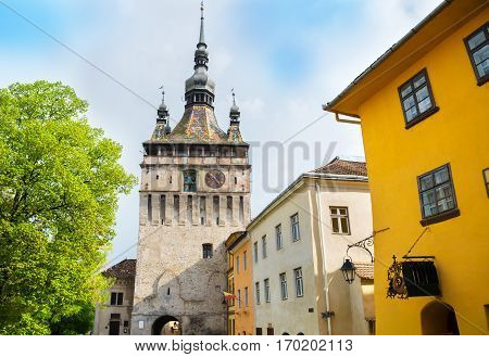 Artistic architecture of Sighisoara citadel, town of Transylvania - Romania