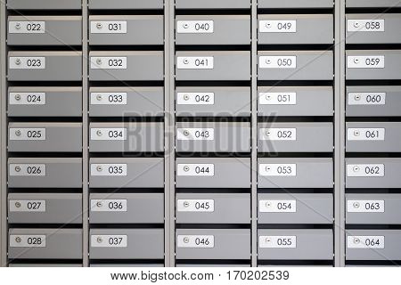 Mailboxes In The Apartment With The Numbers