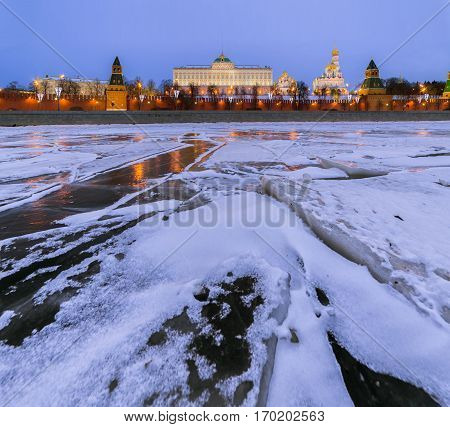 Moscow. Kremlin. Grand Kremlin Palace in winter morning