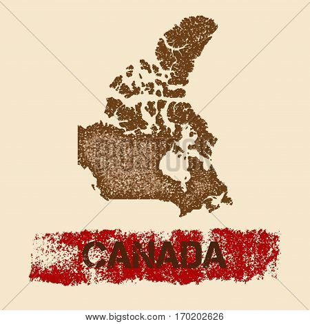 Canada Distressed Map. Grunge Patriotic Poster With Textured Country Ink Stamp And Roller Paint Mark