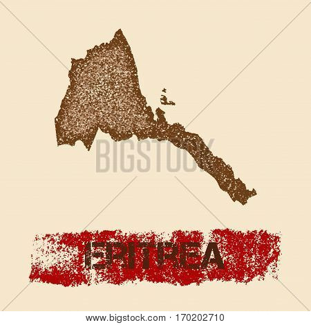 Eritrea Distressed Map. Grunge Patriotic Poster With Textured Country Ink Stamp And Roller Paint Mar