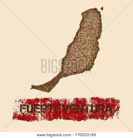 Fuerteventura Distressed Map. Grunge Patriotic Poster With Textured Island Ink Stamp And Roller Pain