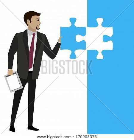 Business concept with piece of the puzzle.Stock  Vector illustration