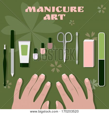 female palms and a set of tools and accessories for manicure and nail polishes
