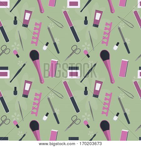 seamless pattern of tools for manicure and pedicure