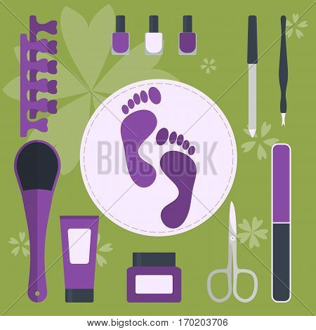 set of accessories and tools for pedicure and manicure