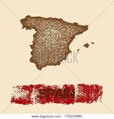 Spain Distressed Map. Grunge Patriotic Poster With Textured Country Ink Stamp And Roller Paint Mark,
