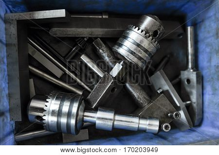 Heap of tools for CNC machine in the box