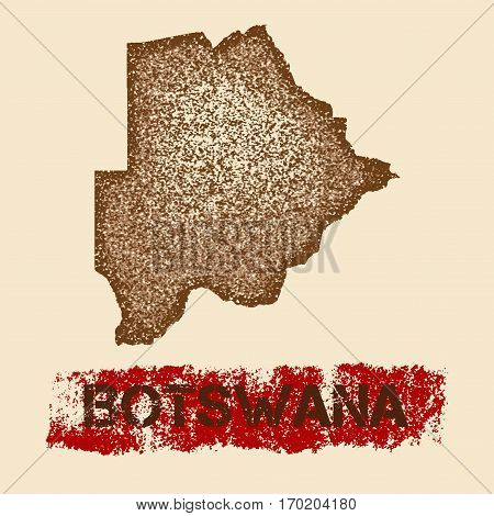 Botswana Distressed Map. Grunge Patriotic Poster With Textured Country Ink Stamp And Roller Paint Ma