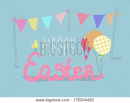 Vector Happy Easter illustration. Cute yellow chick, colorfull flags and balloons.