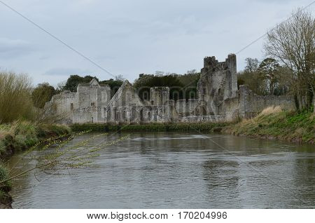 Desmond castle ruins and river Maigue running by it in Ireland.