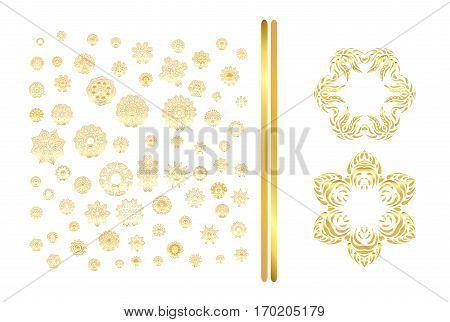 Golden Mandala Set. Gold  Pattern Isolated On Background.
