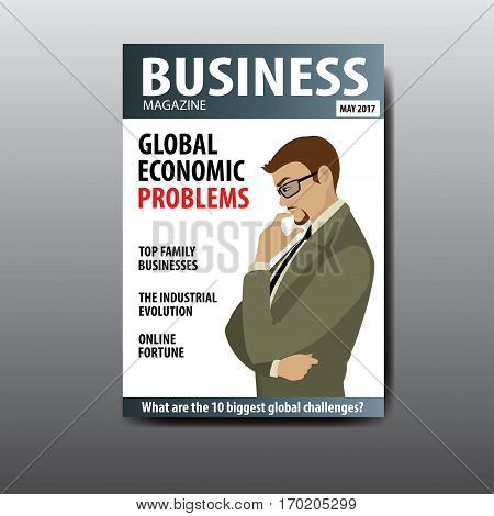 The blank magazine cover, businessman thinking about a problem, template, stock vector illustration