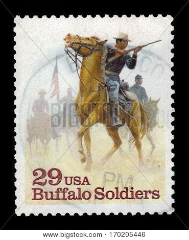 UNITED STATES - CIRCA 1994: A stamp printed in USA shows Buffalo Soldiers,