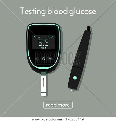 device for measuring blood sugar. glucose meter