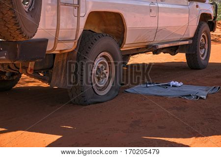 Faulty Tyre on a sandy Track in Western Australia
