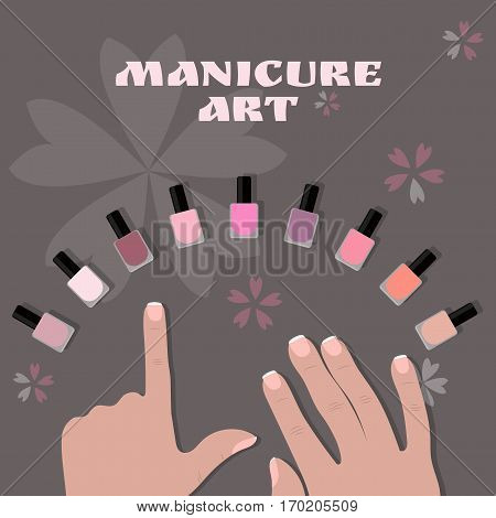 manicure art. image of fingers and bright nail polish