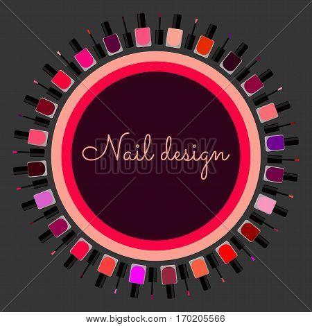 Set of colorfull nail polish. nail design