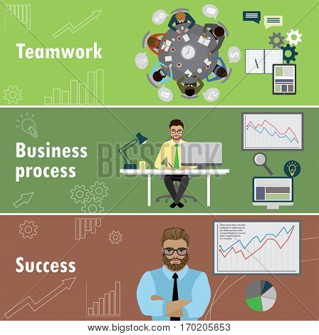 flat banner set with teamwork, business process and success, stock vector illustration.