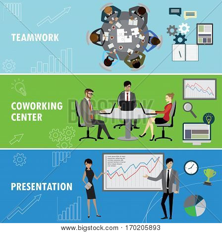 Set business banner. Teamwork, coworking and presentation. Business people in different situations.Vector illustration.