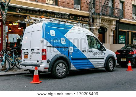 New York, February 6, 2017: A Spectrum [formerly Time Warner Cable] van is parked in the streets of Manhattan.