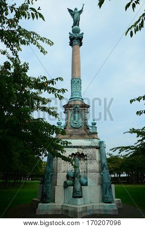 A view of a naval memorial monument in Copenhagen