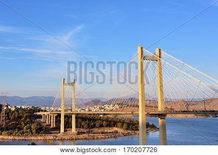 Modern bridge to Chalcis at sunset Greece