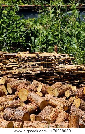 Lumber for heating stoves stored in the greeny farm yard in Eastern Europe, where firewood is a common source of energy during the wintertime