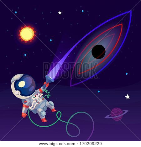 An astronaut in the open space is looking at a black hole with a flash light. The light gets distorted and is sucked into the black hole.