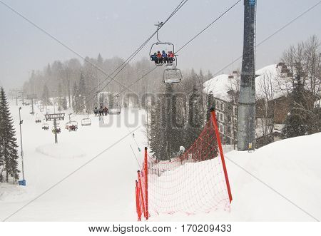 Sochi, Russia - 1 January, Cableway in the mountains, 1 January, 2017. Winter mountain ski resort Rosa Khutor.
