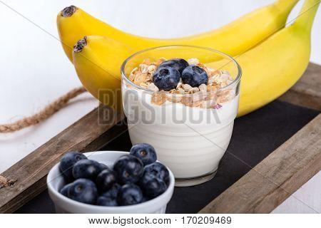 Dietetic breakfast - fruits, yoghurt and muesli