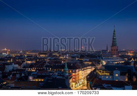 Cityscape of copenhagen in the blue hour