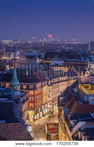 Cityscape of copenhagen in the bluehour and a shopping street