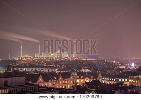 Copenhagen city scape in the night with long exposure