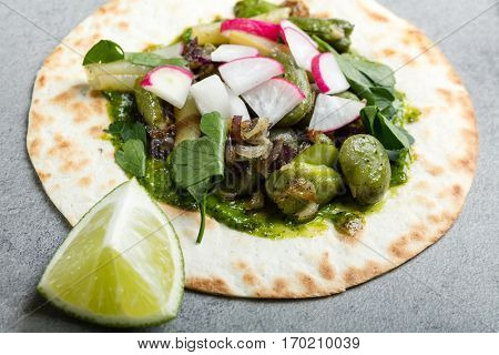Tortilla wrap bread with vegetables