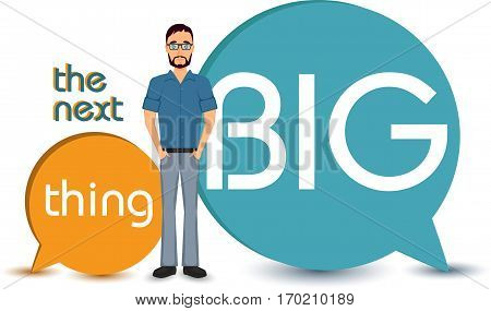 The next big thing concept idea. Business people character isolated vector illustration on white background. Start up quote, idea motivation, company message.