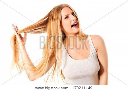 Young beautiful woman with messy hair