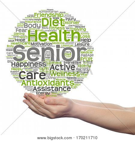 Concept conceptual old senior health, care elderly people abstract word cloud held in hands isolated on background metaphor to healthcare, illness, medicine, assistance, help, treatment, active happy