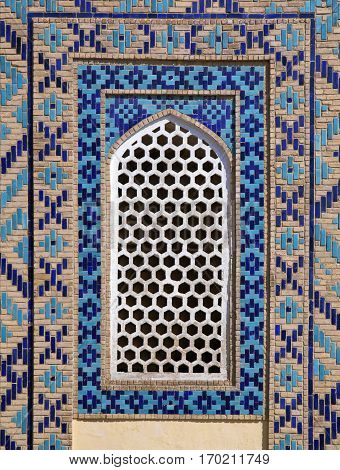 Typical open-work window of an ancient building, Uzbekistan