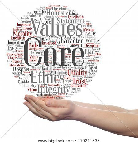 Conceptual core values integrity ethics circle concept word cloud in hands isolated on background metaphor to honesty, quality trust, statement, character, important perseverance, respect trustworthy