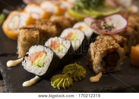 Fresh and delicious maki and nigiri sushi